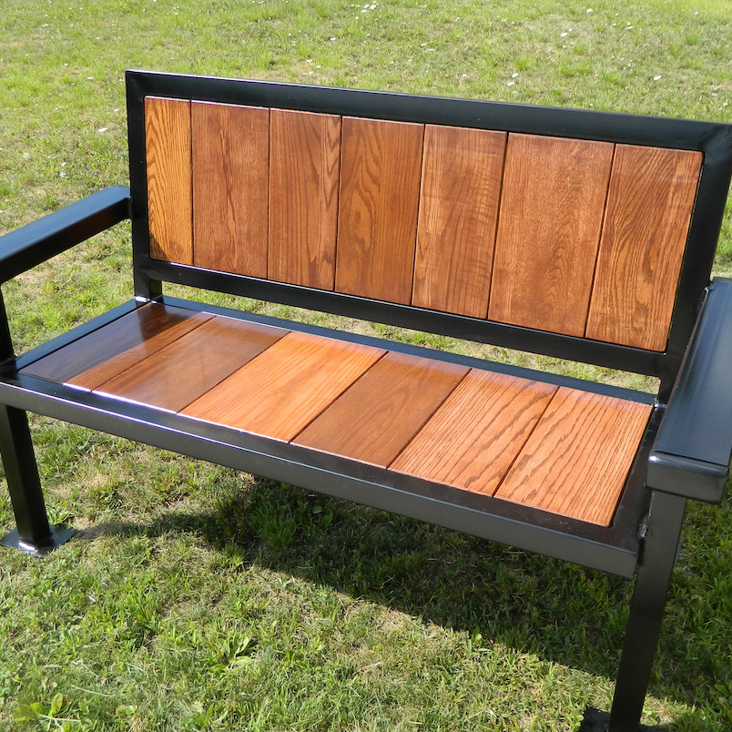 Bench made with metal and repurposed wood