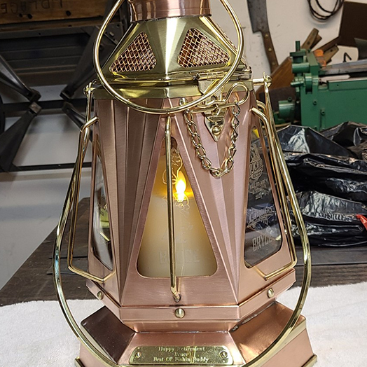 custom copper and brass lantern